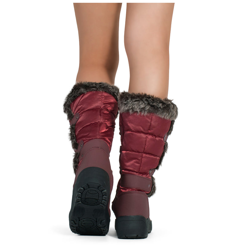 Waterproof Warm Fur Lined Cold Weather Snow Rain Boots WINE