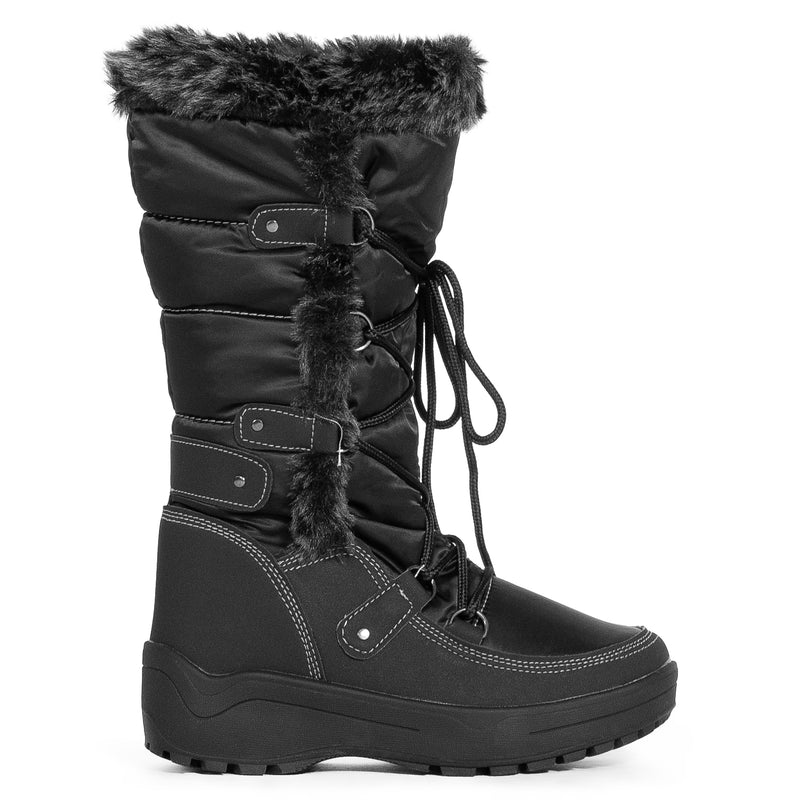 Waterproof Warm Fur Lined Cold Weather Snow Rain Boots BLACK