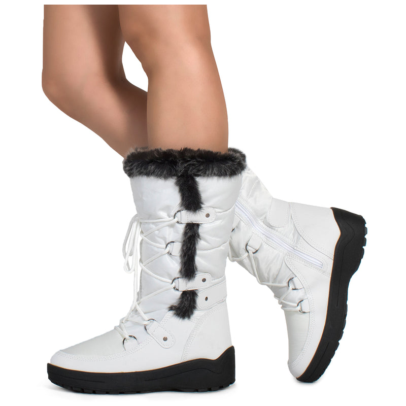 Waterproof Warm Fur Lined Cold Weather Snow Rain Boots WHITE