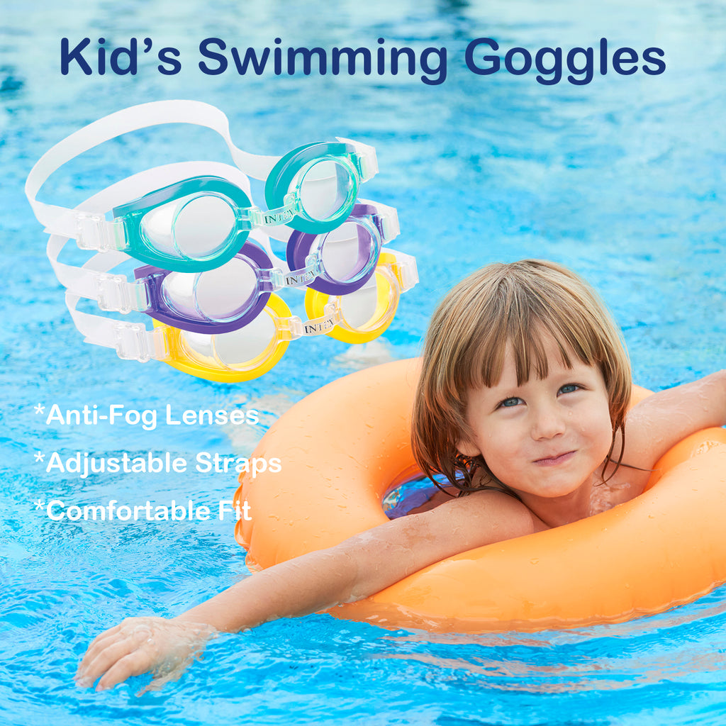 "Kids 3-8 Year Old 6"" Toy Color Swimming Goggles for Children, Pool Game, Clear View, Adjustable Strap (3 Packs)"