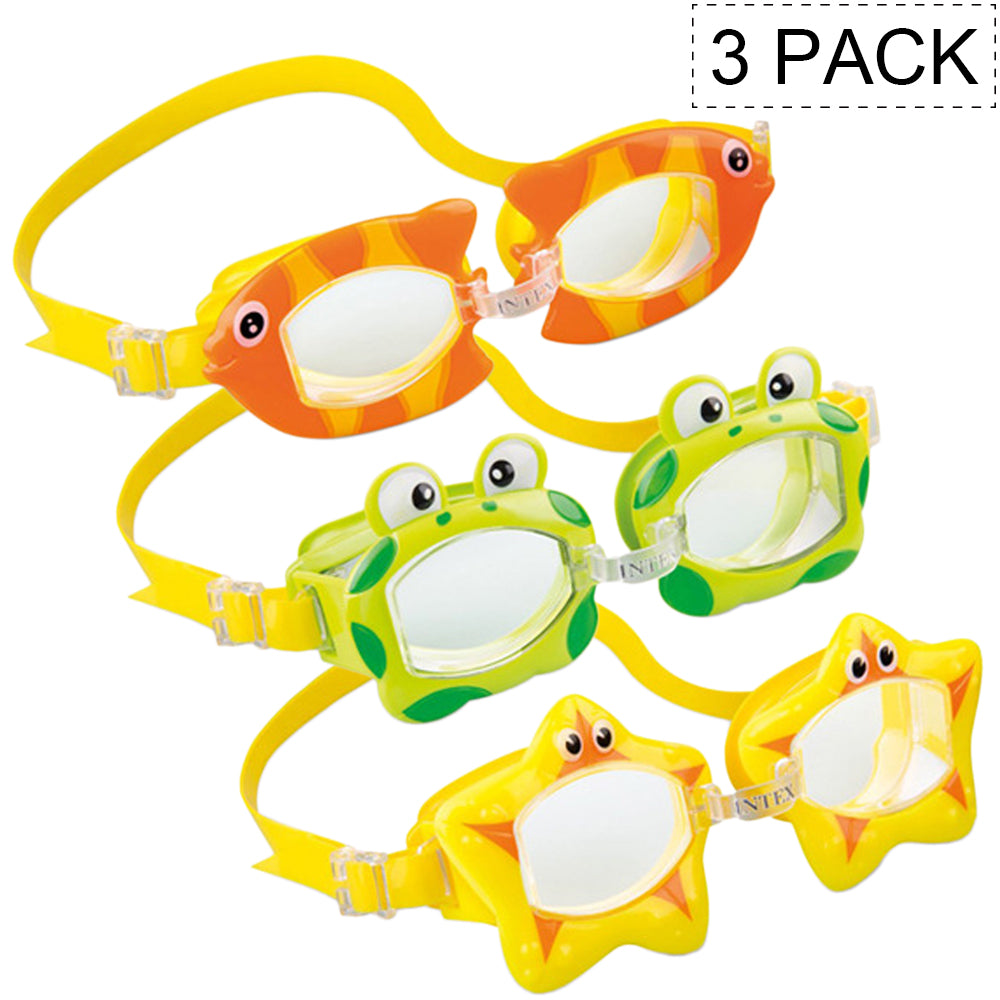 Kids Age 3-8 Fun Toy Color Swimming Play Goggles for Children, Backyard Pool Game, Adjustable Strap