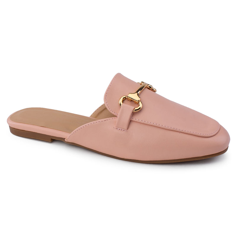 Women's Square Toe Horsebit Mule Slip On Loafer Slides Flats PINK PU