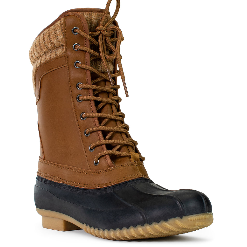 Fleece Lined Waterproof Snow Rain Duck Boots COGNAC
