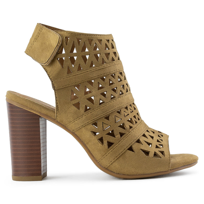 Open Toe Cutout Adhesive Strip Chunky Heel Backless Booties BEIGE