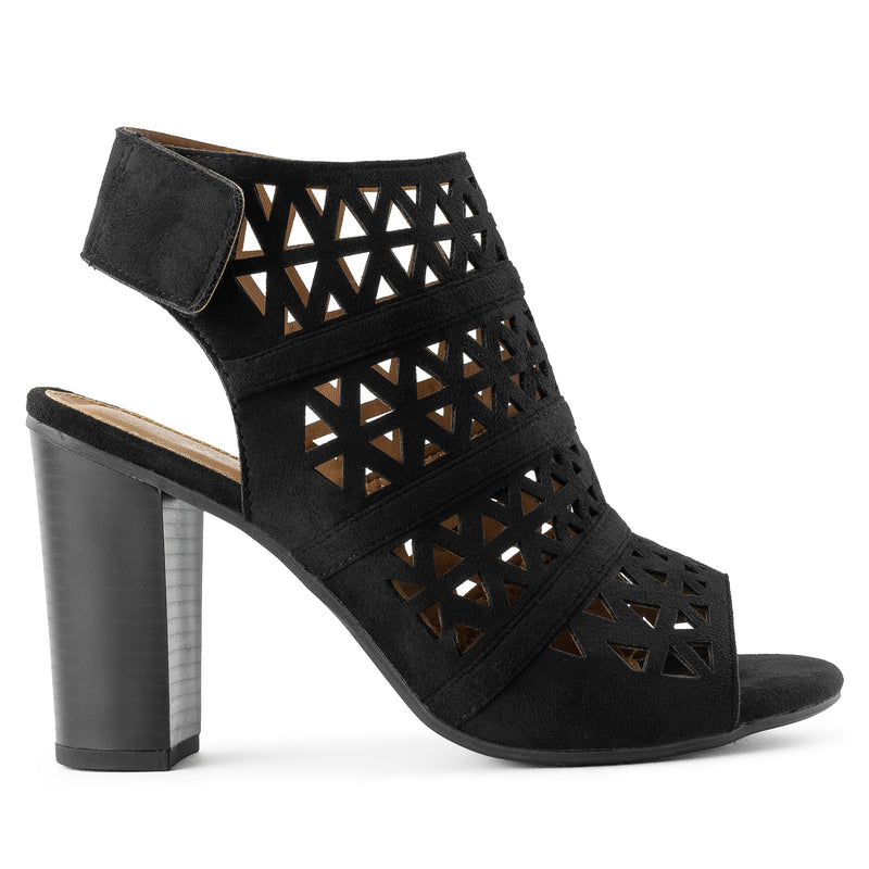 Open Toe Cutout Adhesive Strip Chunky Heel Backless Booties BLACK