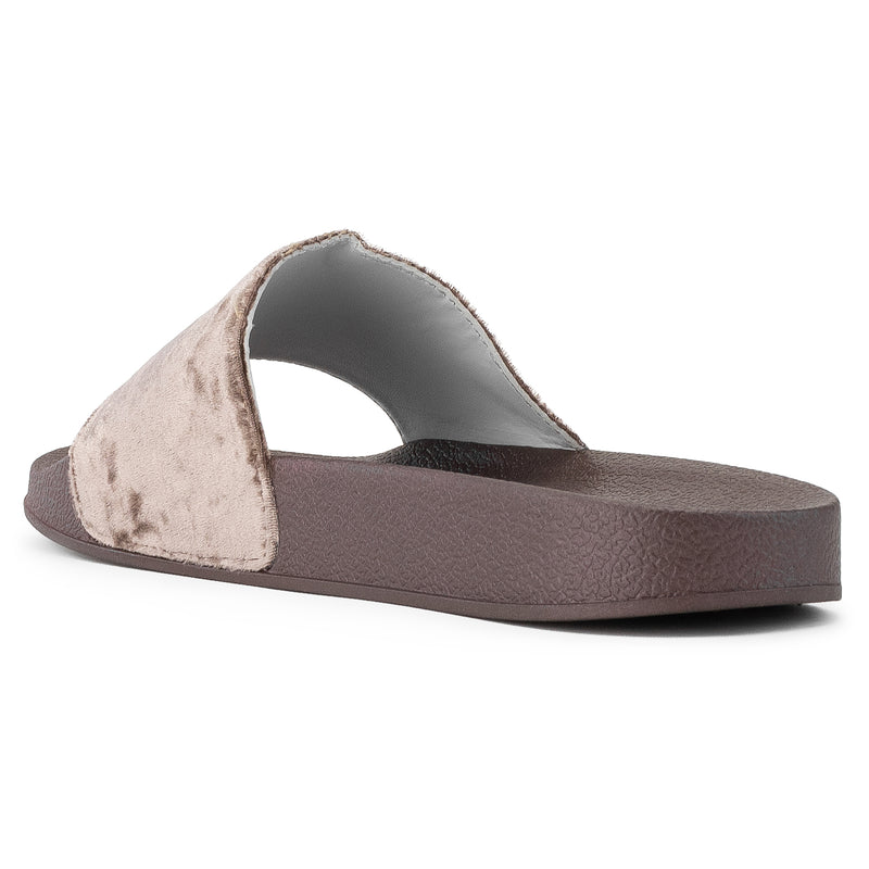 Women's Casual Wide Band Slip On Footbed Slides Sandals COFFEE