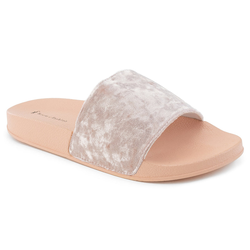 ROF Kaden-01 Velvet Slip On Slide Sandals in Pink