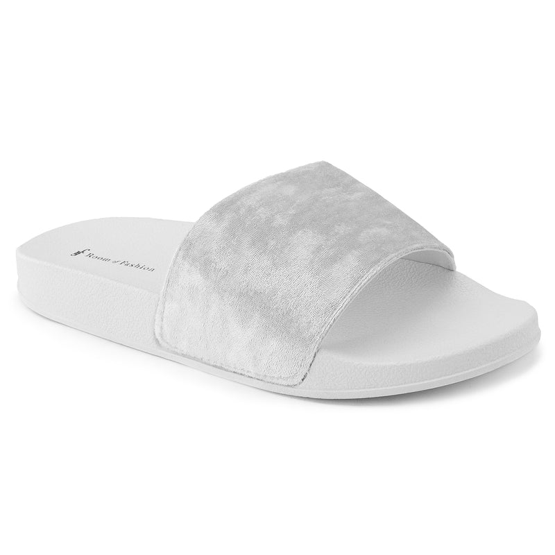 Women's Casual Wide Band Slip On Footbed Slides Sandals WHITE
