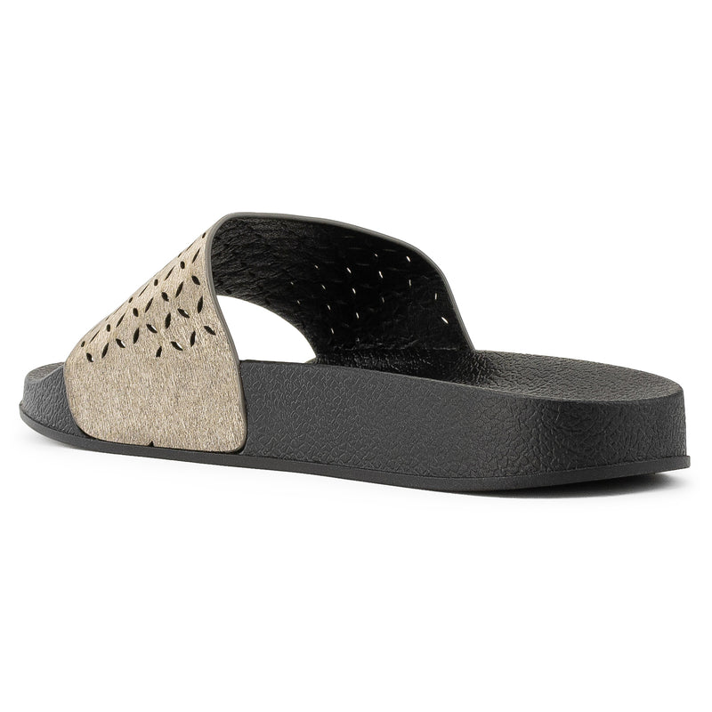 ROF Kaden-02 Open Toe Perforated Cut Out Design Slide Sandals in Black