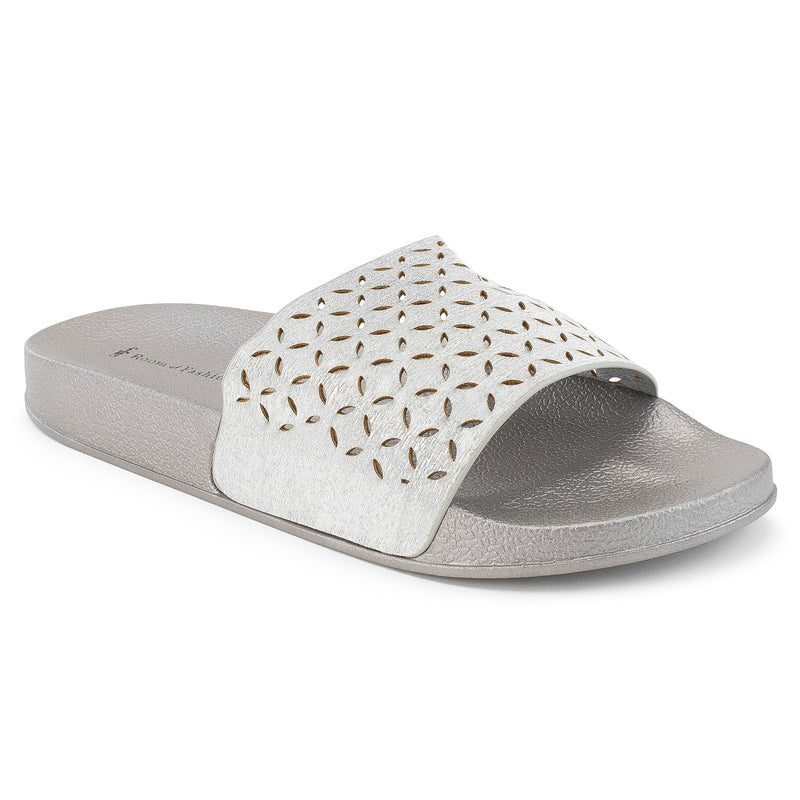 ROF Kaden-02 Open Toe Perforated Cut Out Design Slide Sandals in Silver