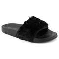 ROF Faux Fur Slip on Flip Flop Slide Soft Flat Slipper Sandals - KA05 BLACK