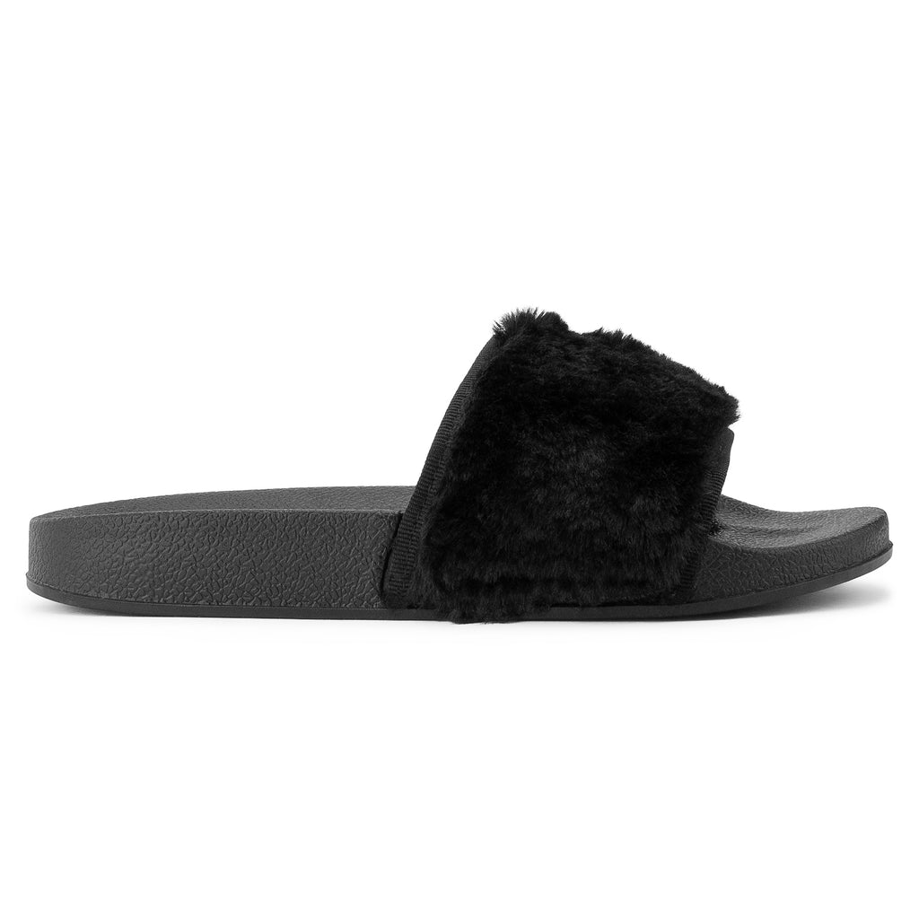 Women's Casual Wide Band Slip On Footbed Slides Sandals BLACK