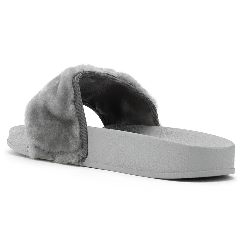 Women's Casual Wide Band Slip On Footbed Slides Sandals GREY