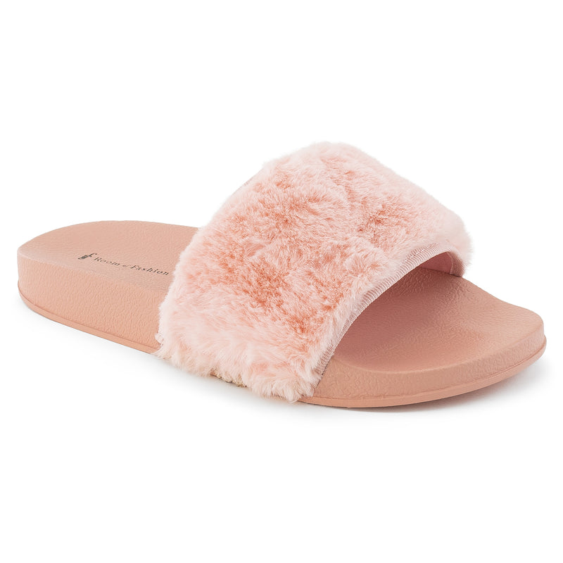 ROF Kaden-05 Faux Fur Slip on Slide Sandals in Peach