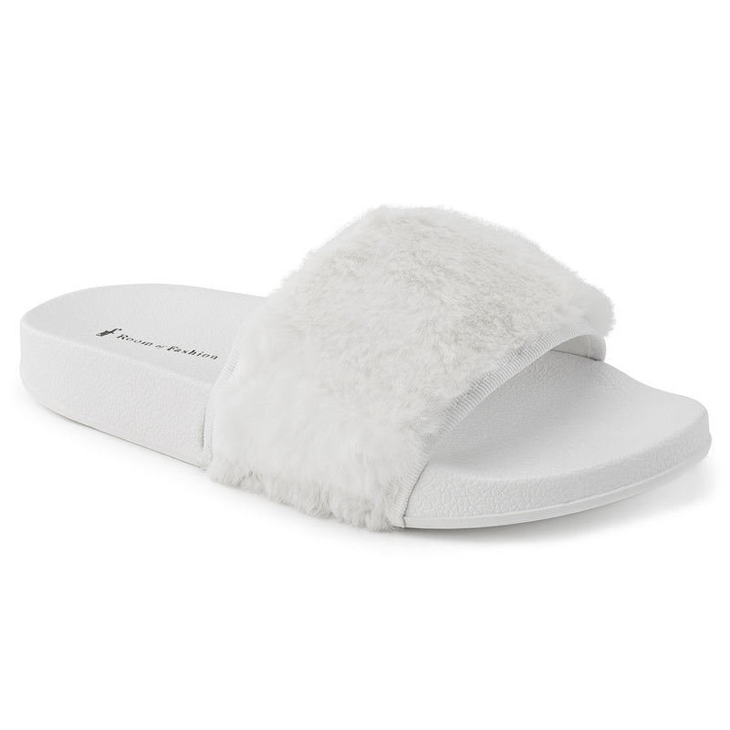 ROF Kaden-05 Faux Fur Slip on Slide Sandals in White