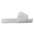 ROF Faux Fur Slip on Flip Flop Slide Soft Flat Slipper Sandals - KA  WHITE