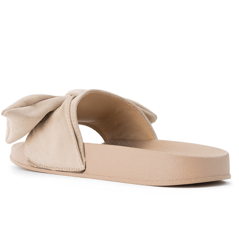 ROF Kaden-06 Slip on Slide Sandals in Beige Suede