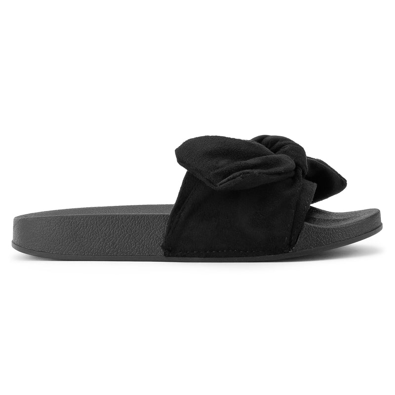ROF Kaden-06 Slip on Slide Sandals in Black Suede