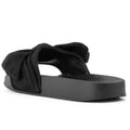 ROF Faux Fur Slip on Flip Flop Slide Soft Flat Slipper Sandals - KA BLACK