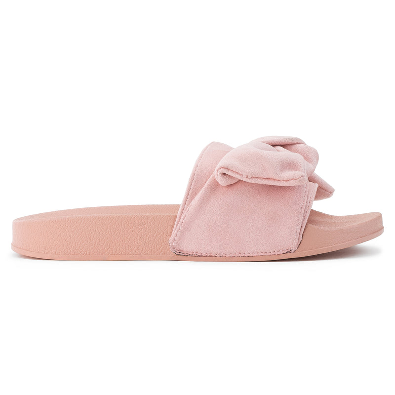 Women's Oversized Bow Wide Band Sip On Footbed Slides Sandals PINK