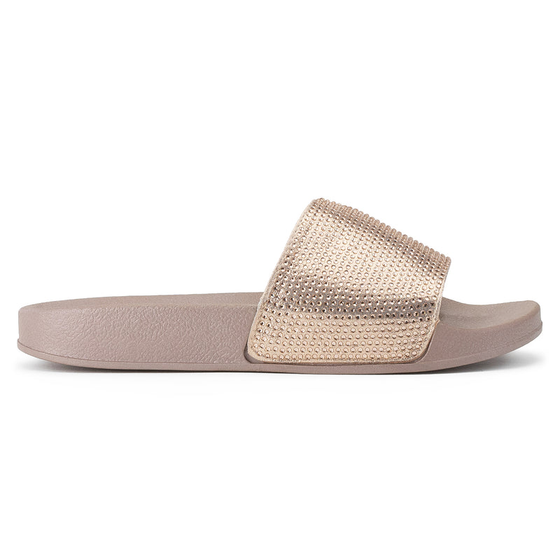 Women's Jeweled Wide Band Sip On Footbed Slides Sandals ROSE GOLD