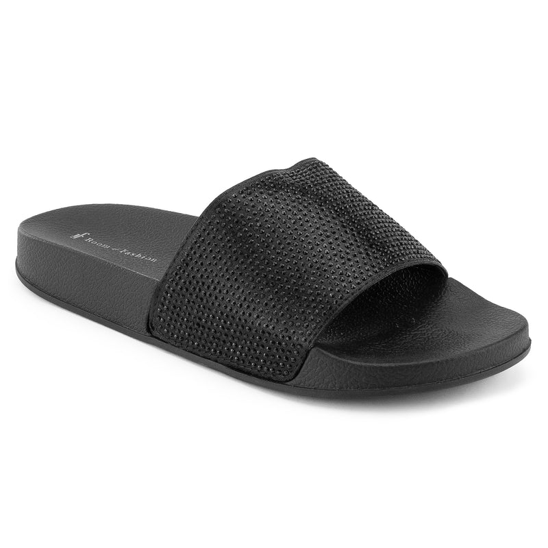 Women's Jeweled Wide Band Sip On Footbed Slides Sandals BLACK