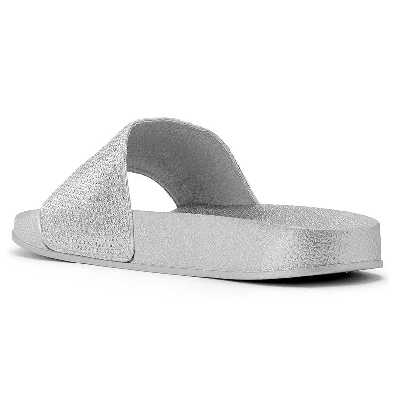 Women's Jeweled Wide Band Sip On Footbed Slides Sandals SILVER
