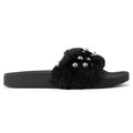 ROF Kaden-08 Faux Fur Pearl Decor Single Band Slip On Slides in Black