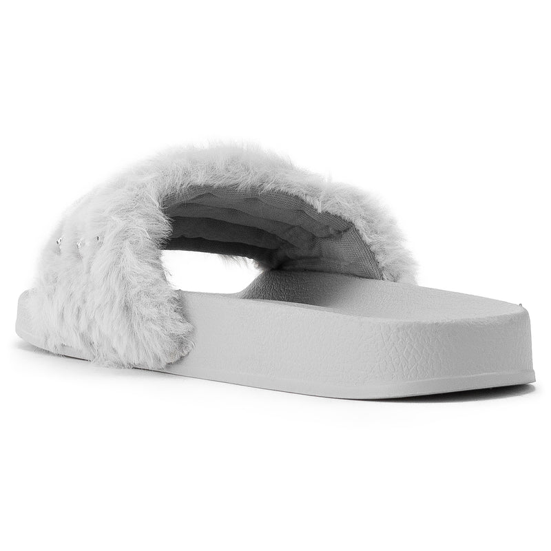 ROF Kaden-08 Faux Fur Pearl Decor Single Band Slip On Slides in Grey