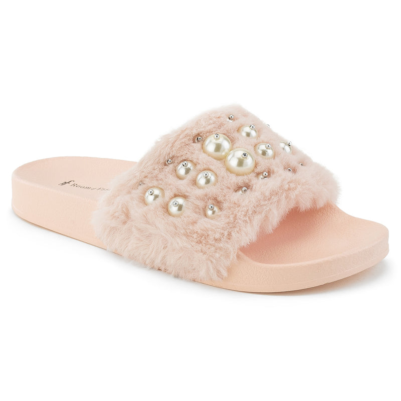 ROF Kaden-08 Faux Fur Pearl Decor Single Band Slip On Slides in Pink