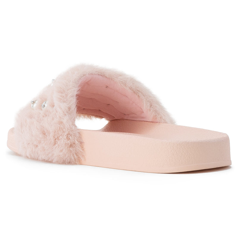 Women's Jeweled Wide Band Sip On Footbed Slides Sandals PINK