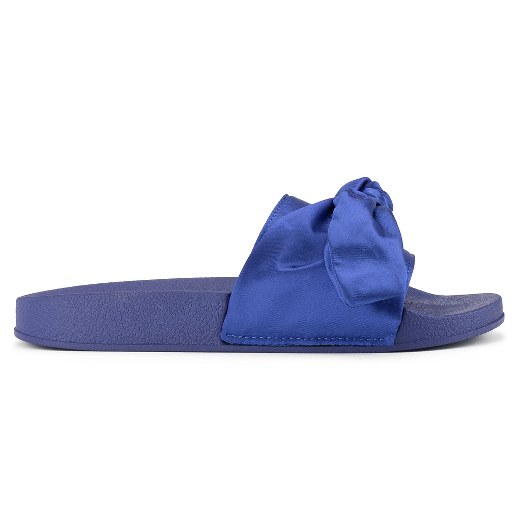 Women's Oversized Bow Wide Band Sip On Footbed Slides Sandals BLUE