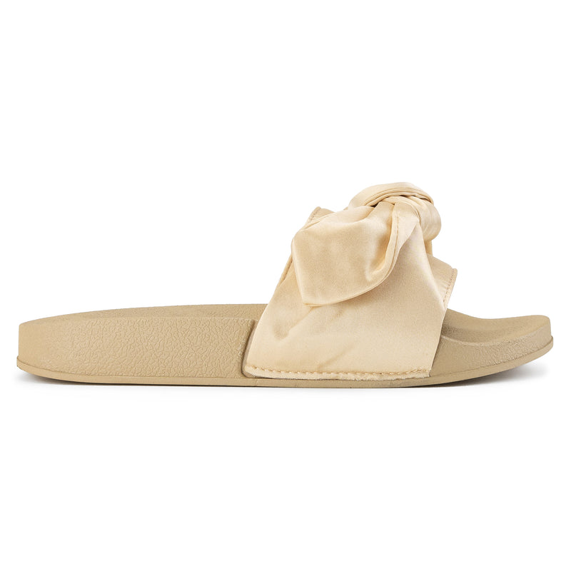 ROF Kaden-10 Bow Tie Slip On Soft Footbed Slides in Champagne