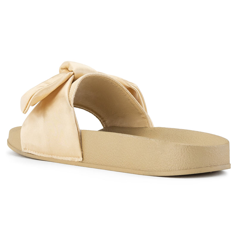 Women's Oversized Bow Wide Band Sip On Footbed Slides Sandals CHAMPAGEN