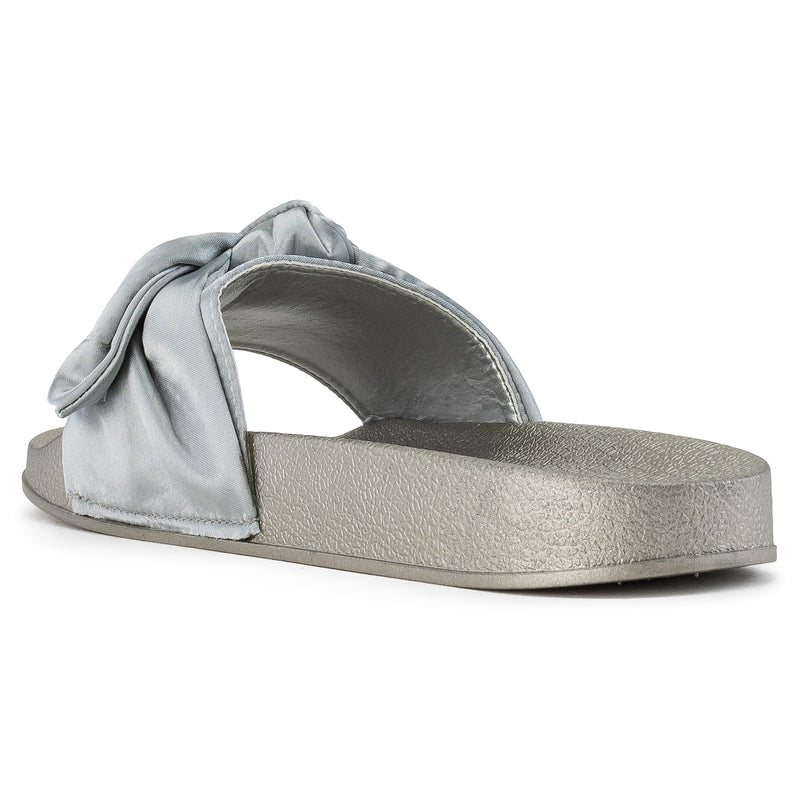 Women's Oversized Bow Wide Band Sip On Footbed Slides Sandals SILVER