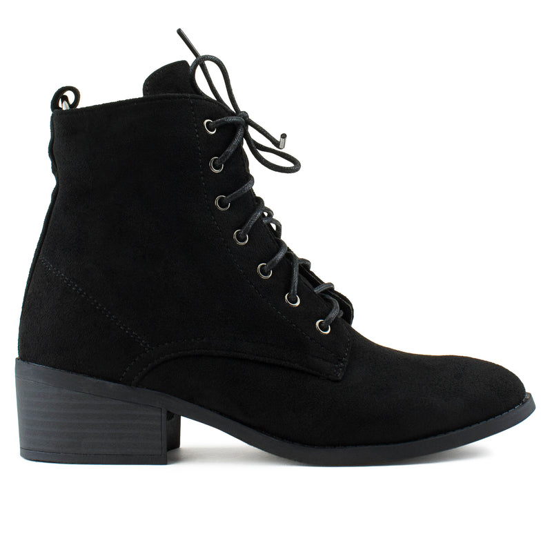Women's Oxford Inspired Lace Up Side Zip Ankle Boots BLACK
