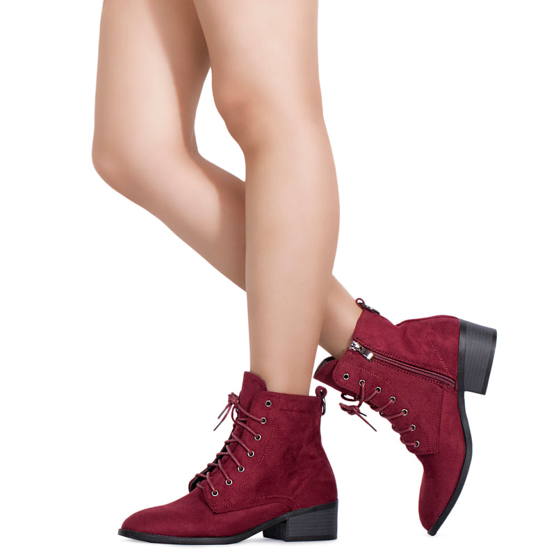 Women's Oxford Inspired Lace Up Side Zip Ankle Boots BURGUNDY