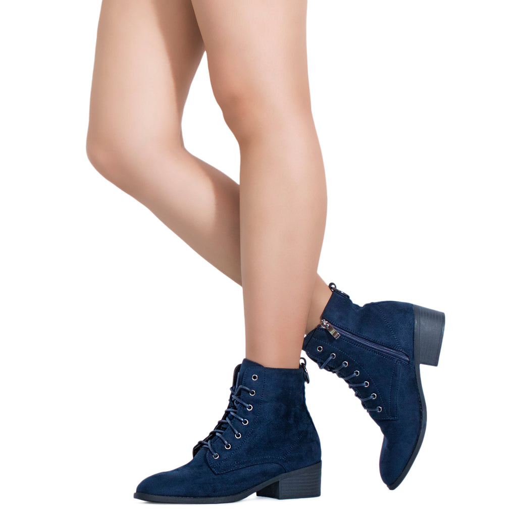 Women's Oxford Inspired Lace Up Side Zip Ankle Boots NAVY
