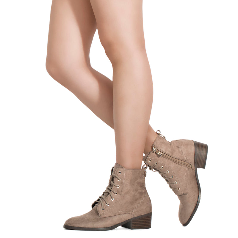 Women's Oxford Inspired Lace Up Side Zip Ankle Boots TAUPE