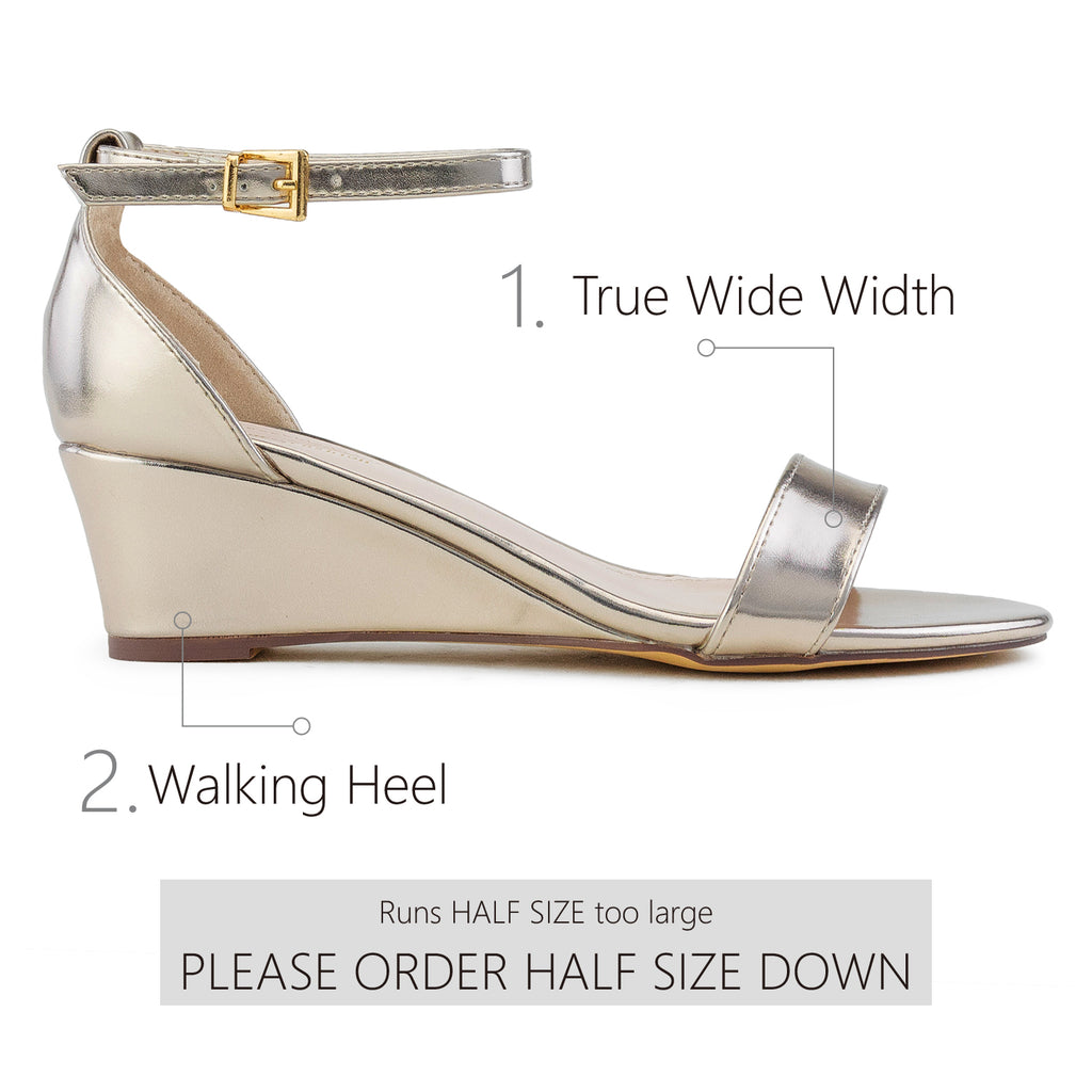 """Wide Width"" Ankle Strap Low Platform Heel Wedge Sandals BRONZE"