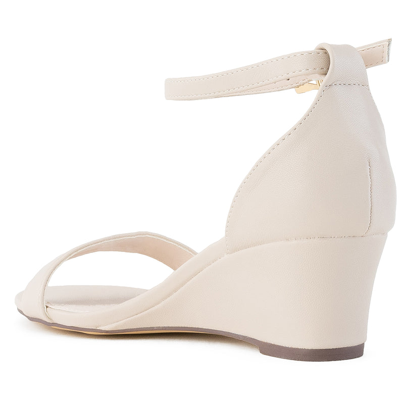 """Wide Width"" Ankle Strap Low Platform Heel Wedge Sandals BEIGE"