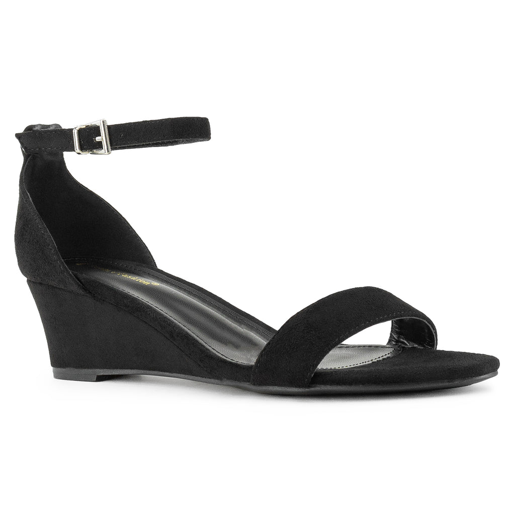 """Wide Width"" Ankle Strap Low Platform Heel Wedge Sandals BLACK"
