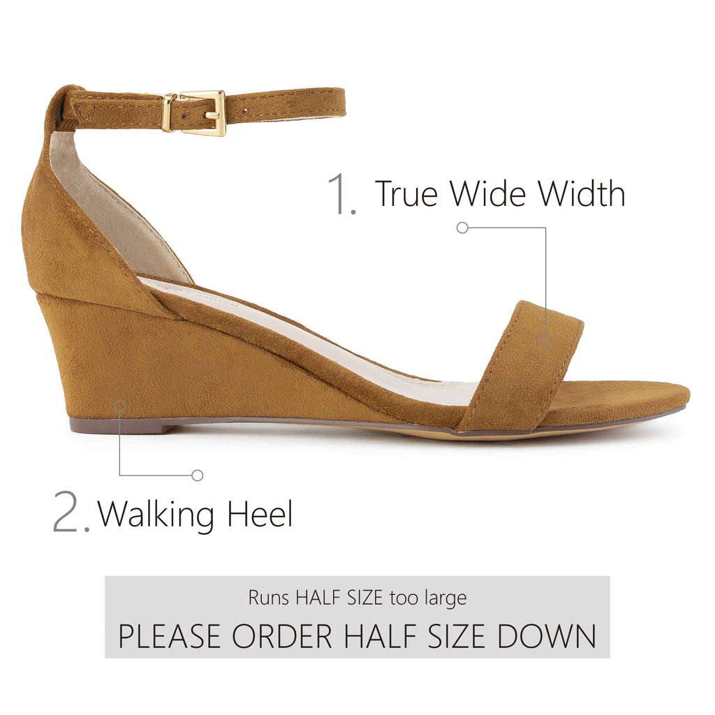"""Wide Width"" Ankle Strap Low Platform Heel Wedge Sandals CAMEL"