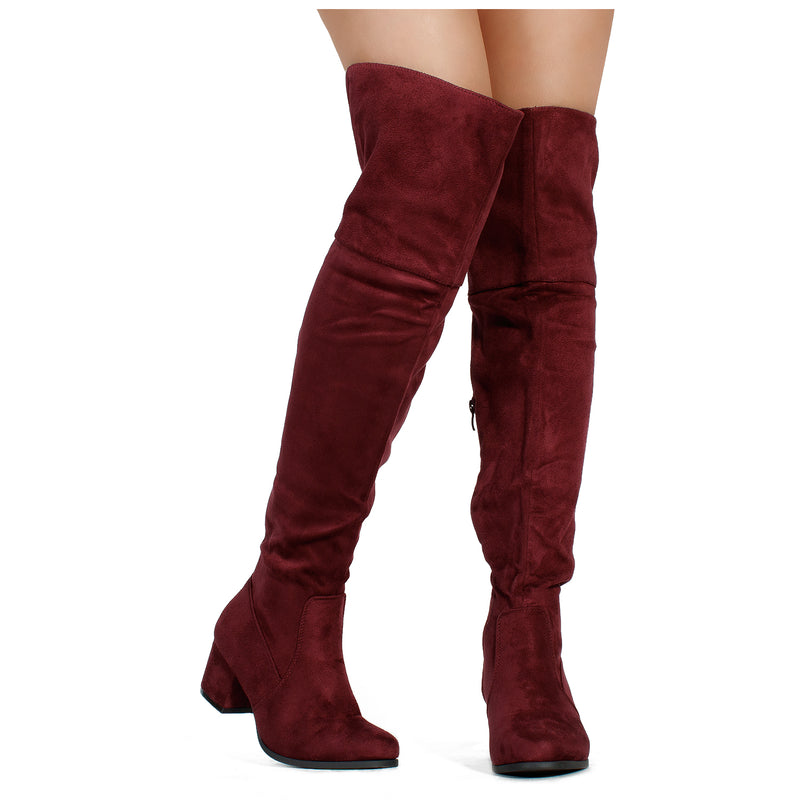 """Medium Calf"" Low Block Heel Pullon Over The Knee Boots BURGUNDY"