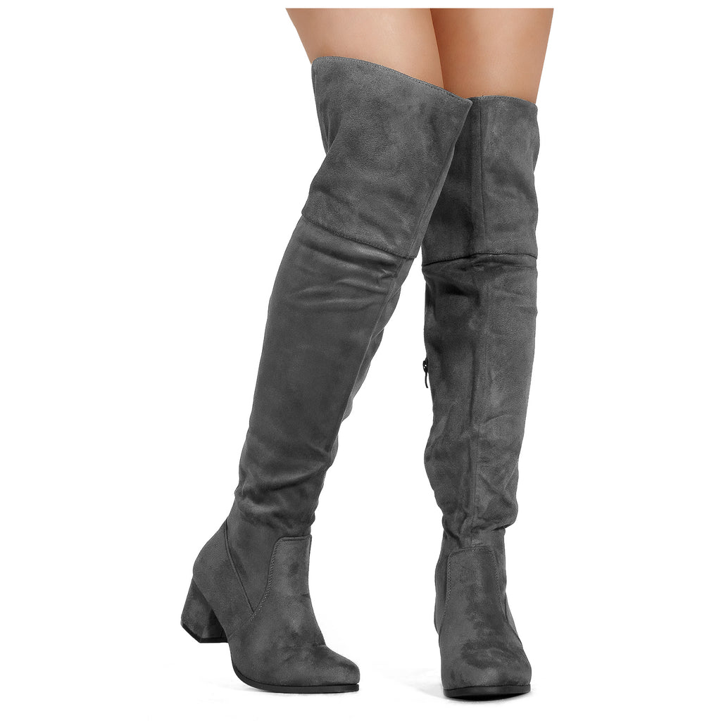 """Medium Calf"" Low Block Heel Pullon Over The Knee Boots GREY"