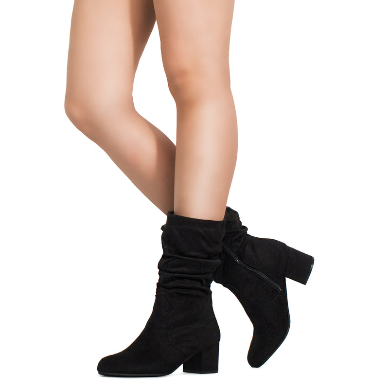 Comfortable Block Heel Slouchy Ankle to Mid Calf Boots BLACK