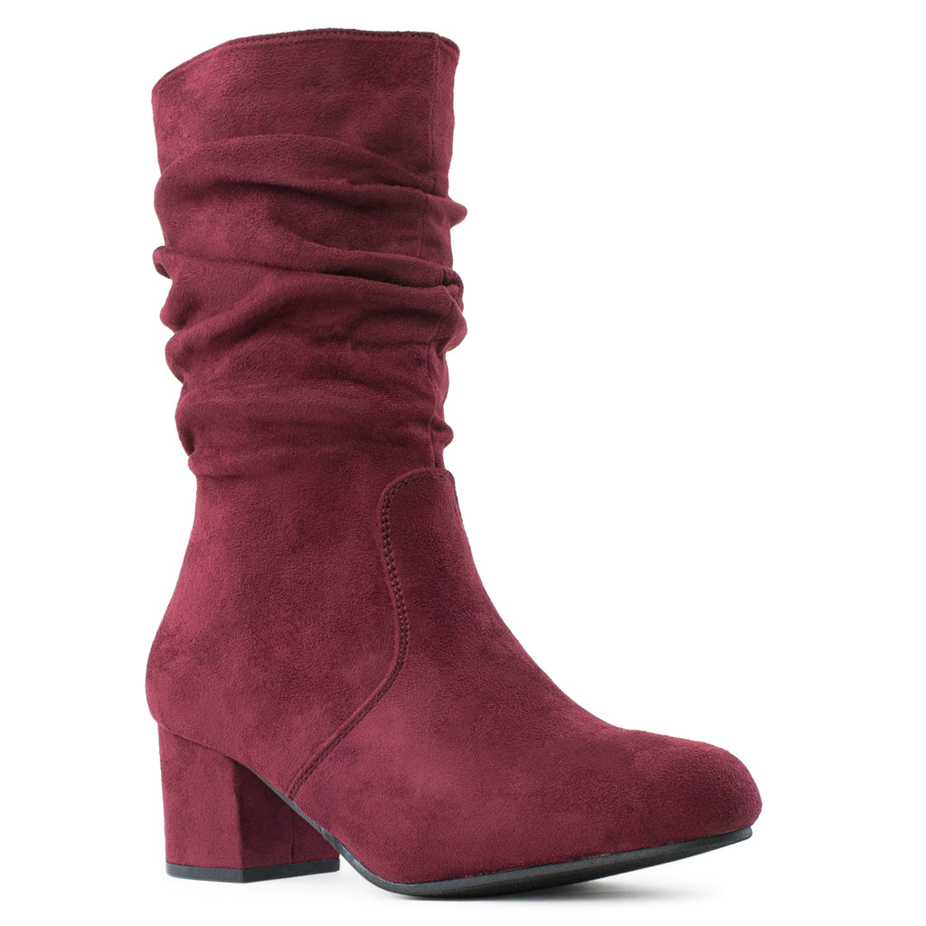 Comfortable Block Heel Slouchy Ankle to Mid Calf Boots BURGUNDY