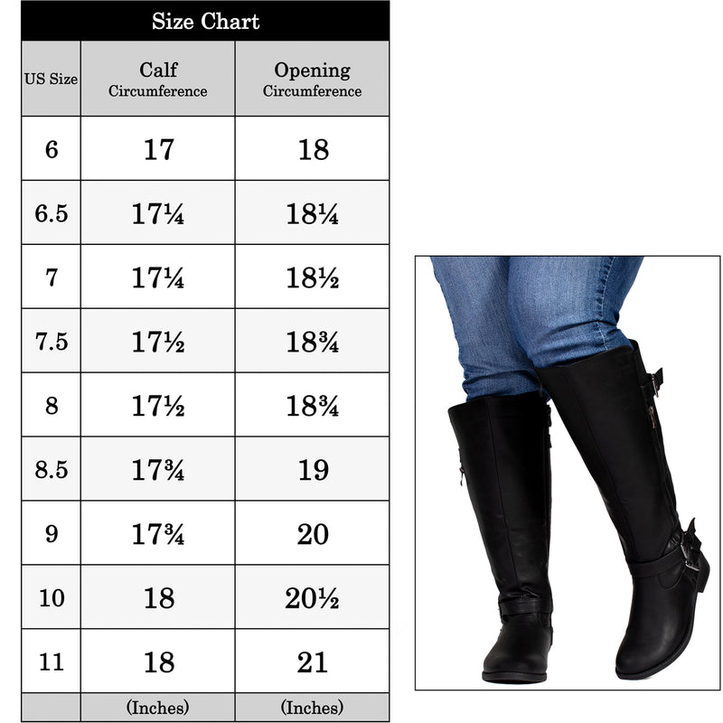 """Wide Calf & Wide Width"" Women's Knee High Riding Boots BLACK"