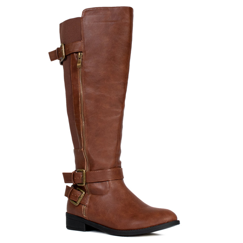 """Wide Calf & Wide Width"" Women's Knee High Riding Boots TAN"