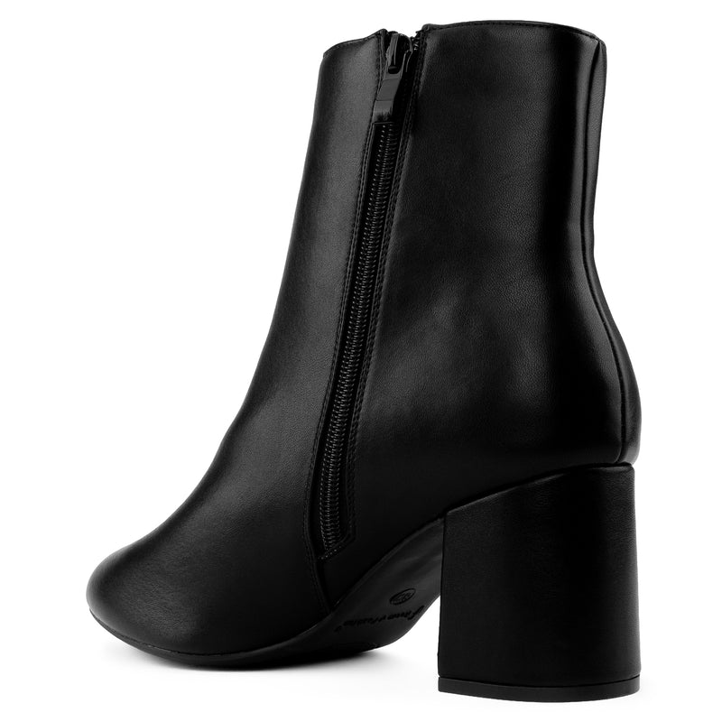 """Wide Width"" Block Heel Ankle Boots - Plus Size Friendly BLACK PU"